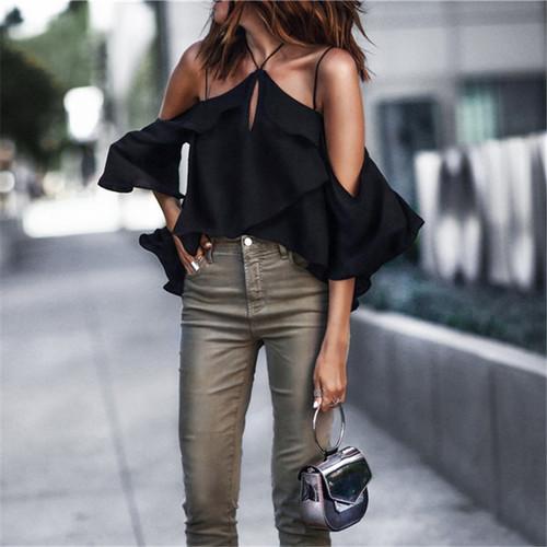 Plus Size 2018 Women Summer Casual Chiffon Halter T-shirt Black Clothes Tees Top New Arrivals