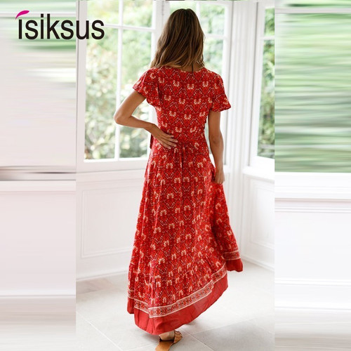 Isiksus Sexy Beach Summer Dress Women Boho Long Summer Dress Maxi Women Dress Elegant Floral Print 2019 Bohemian Sundress DR158