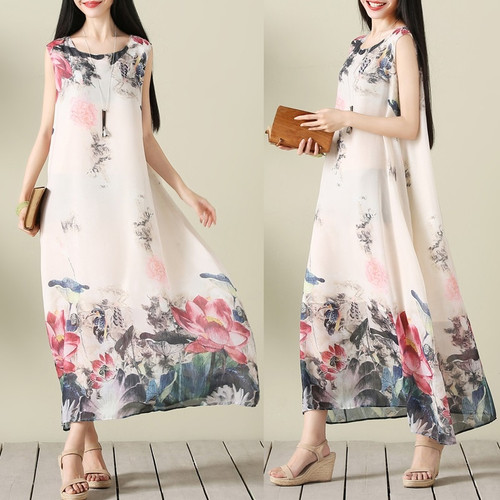 chiffon plus size vintage floral women casual long loose summer beach party dress elegant vestidos clothes 2019 ladies dresses