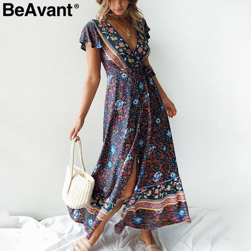 BeAvant Bohemian floral print summer dress 2019 V neck ruffle sleeve beach maxi dress Vintage sash women dress sexy vestidos