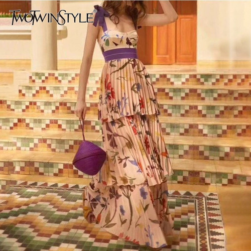 TWOTWINSTYLE Print Strap Dresses Women Sleeveless High Waist Floor Length Pleated Dress Female 2019 Summer Casual Fashion New