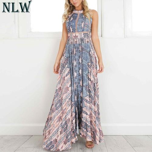 NLW Boho Blue Flower Maxi Dress Halter Summer Dress 2019 Women High Split Backless Sexy Long Dress Beach Party Chic Girl Vestido