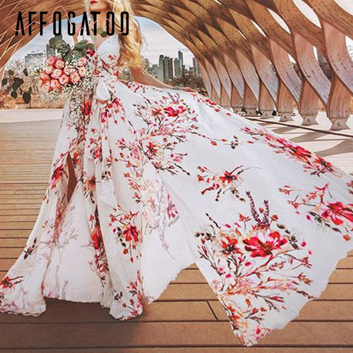 Affogatoo Floral print women summer dress 2019 V neck high waist sash long dress casual Sleeveless split sexy boho dress vestido