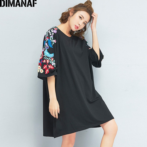 DIMANAF Women T-Shirt Plus Size Summer Oversized Big Cotton Black Floral Embroidery O-Neck Female Tops Tees Loose tshirt 2018