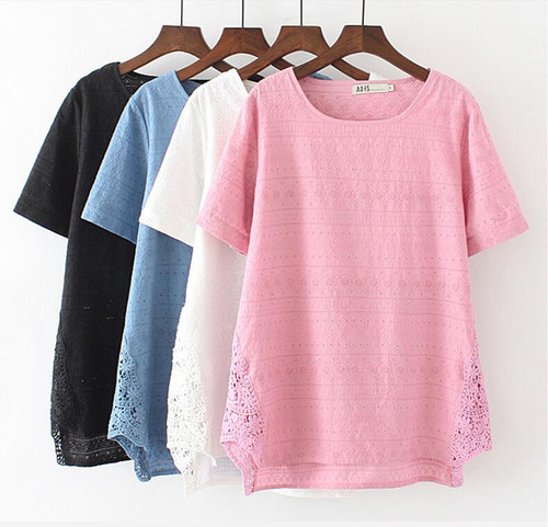 Plus size cutout embroidered women tops short sleeve 2018 summer t-shirt loose basic tshirt lace hollow out tee shirt femme XXXL