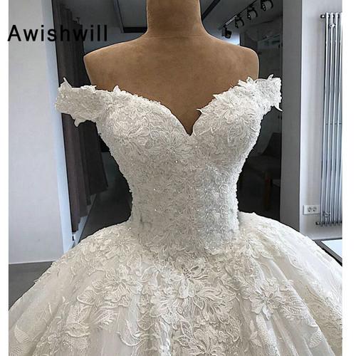 Vestido de Noiva Gorgeous Wedding Dresses 2019 Puffy Cap Sleeve Ball Gown Arabic Lace Bridal Wedding Gown Vintage