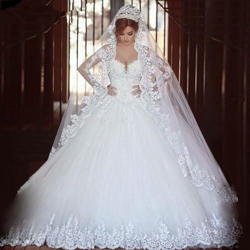 QQ Lover Luxury Vintage Full Sleeves Lace Wedding Dress 2019 Ball Gown Princess Bridal Wedding Gowns Vestido De Noiva
