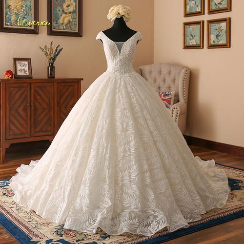 Loverxu Vestido De Noiva V Neck Lace Ball Gown Wedding Dresses 2019 Cap Sleeve Embroidery Beaded Vintage Bridal Gown Plus Size
