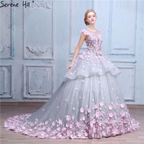 Pink Flower Ball Gown Wedding Dress Bridal Dress Robe De Mariage Mariee Princesa Wedding Dresses 2019 Real Photo HA2043