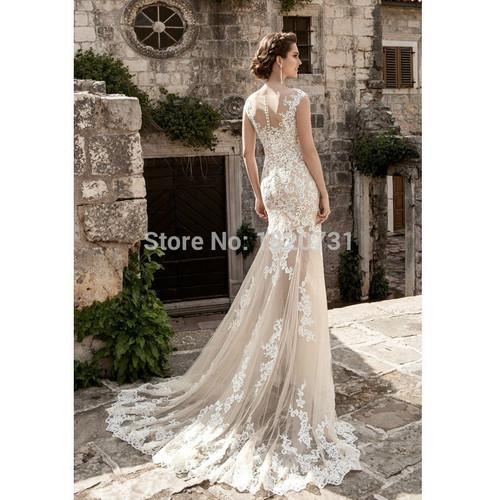 Vestido De Noiva Bridal Gown Champagne Vintage Sexy Lace Detachable Skirt Wedding Dress 2019 Detachable Wedding Dress Train