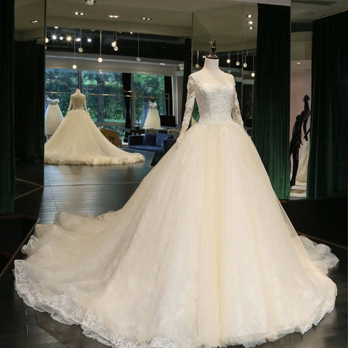 Real Photo Ball Gown Wedding Dress 2019 Bride Dresses custom size&color vestidos de noiva Long Sleeve robe de marriage
