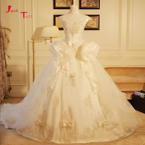 Jark Tozr Custom Made Bow Bridal Gowns With Petticoat Vestidos de Novia Sparkly Crystal Pearls Wedding Dress 2019 Robe De Mariee