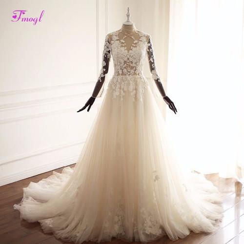 Fmogl Vestido de Noiva Long Sleeve Appliques Bohemian Wedding Dresses 2019 Pearls Beaded High Neck Vintage A-Line Wedding Gown