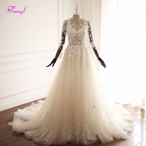 Fmogl Vestido de Noiva Long Sleeve Appliques Bohemian Wedding Dresses 2019 Pearls Beaded High Neck Vintage A-Line Wedding Gown