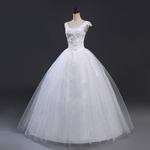 Fansmile Bridal Ball Gowns Plus Size Lace Up Wedding Dresses 2019 Double Shoulder Vintage Vestidos Noiva Robe de Mariee