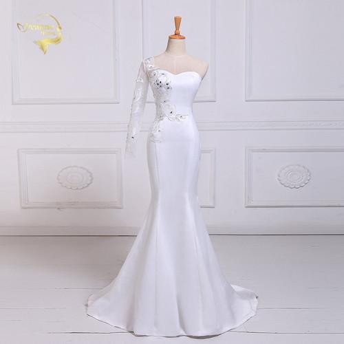 Jeanne Love Heart Lace With Diamond Mermaid Wedding Dresses 2019 One Sleeve Robe De Mariage JLOV75980 Vestido De Noiva Trouwjurk