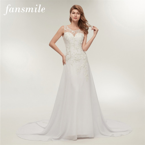 Fansmile Real Photo Embroidery Chiffon Beach Wedding Dress 2019 Vestidos de Novia Plus Size Bridal Gowns FSM-237M