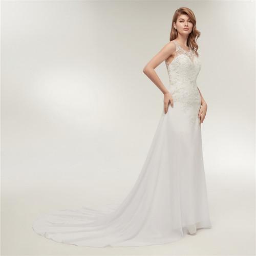 Fansmile Real Photo Embroidery Chiffon Beach Wedding Dress 2019 Vestidos de Novia Plus Size Bridal Gowns FSM-237M