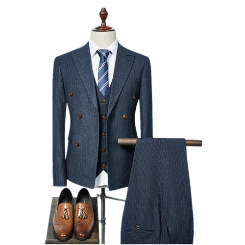 (Jacket+Vest+Pants) 2018 double breasted Men Suits Fashion wool Men's Slim Fit business wedding Suit men Wedding suit size S-3XL