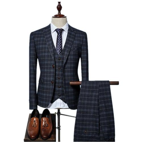 (Jacket+Vest+Pants) 2017 grid Men Suits Fashion wool Men's Slim Fit business wedding Suit men Wedding suit 3 colors