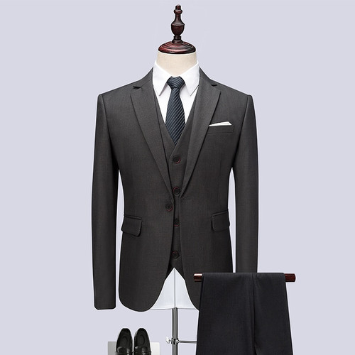 (Jacket+Vest+Pants) 2018 Men Suits Fashion Party dresses Men's Slim Fit business Classic grey Wedding suit big full size M-6XL