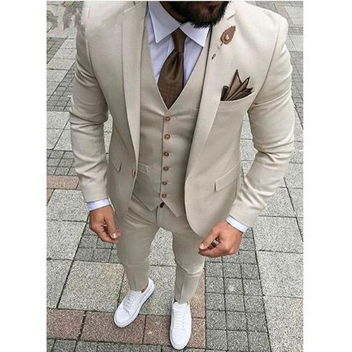 2018 Latest Designs Beige Men Wedding Suit Groomsmen Tuxedo Slim Fit Three Piece Groom Wear Mens Suits Custom Made