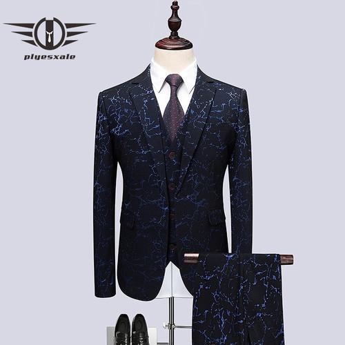 Plyesxale Wedding Tuxedo Suits For Men 3 Piece Slim Fit Mens Printed Suit Brand 5XL 6XL Prom Suit Stage Jacket Pants Vest Q495