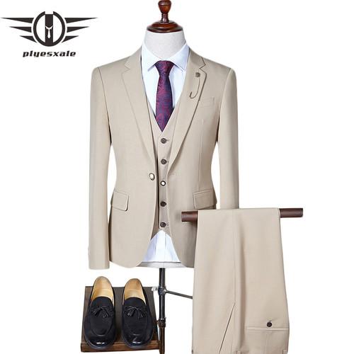 Plyesxale Men Suit 2018 Slim Fit Mens Wedding Suits Classic 3 Piece Men Business Suit One Button Black Gray Blue Khaki Q275