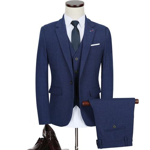 Plyesxale 3 Piece Suit Men 2018 Autumn Slim Fit Mens Wedding Suit Dark Grey Wine Red Blue Tuxedo Jacket Business Suits Q335