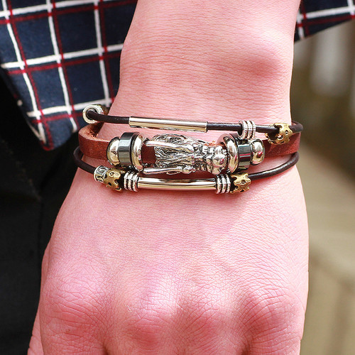 bracelet men Accessoires homme 2018 Tibetan silver men leather bracelet fashion male vintage parataxis dragon Multilayer jewelry