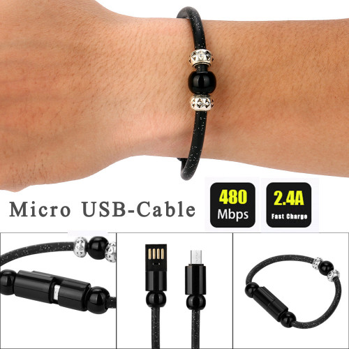 EPULA New Beads Micro USB Cable Beads Bracelet Charging Sync Data Phone Charger For Android Phone