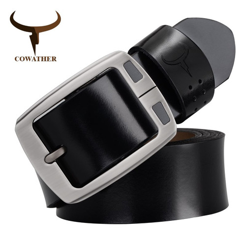 COWATHER 100% men's cow genuine leather male strap pin buckle fashion adjustable black brown coffee gift wrap