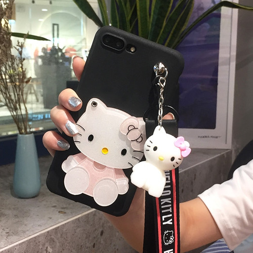 For Samsung s8 s9 plus hello kitty case cute mirror phone cover for samsung galaxy s7 s7edge matte tpu fundas 3D holder strap