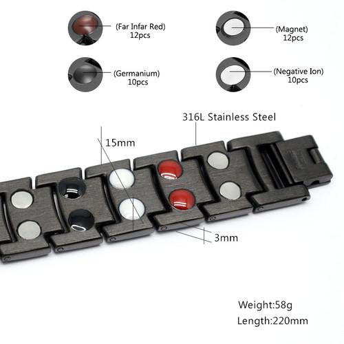 Vivari Black Men's Health Care Therapy Stainless Steel Magnetic Bracelets Bangle Men Benefit 4 Elements Relief for Arthritis