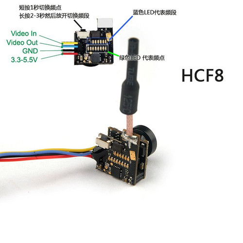 BGNing Mini HCF8/HCF9 5.8G 48ch 25mw VTX Camera Transmitter OSD for FPV RC Mini Quadcopter Drone