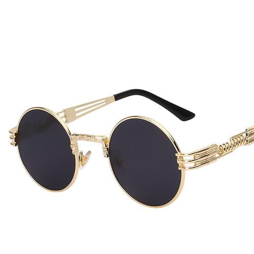 Gothic Steampunk High Quality Sunglasses Men Women Metal Eyeglasses Round Shades luxury Brand Designer Sun Glasses Mirror UV400