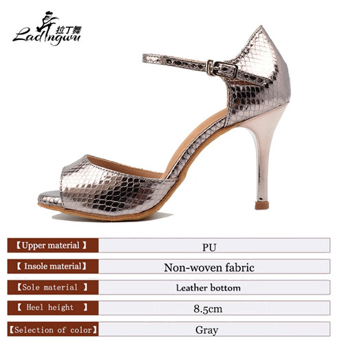 Ladingwu 2018 Wholesale Gray Pu Women's High Heel Shoes Party Ballroom Dance Sandals Salsa Latin Dancing Shoes Silver Heel 8.5cm