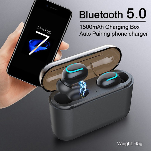 Mini V5.0 Wireless Earbuds Bass Stereo Bluetooth Earphone Portable earpods Cordless Dual Headset With 1500mAh Power bank