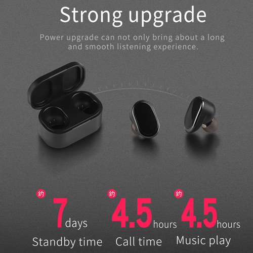 RIKYA K9 Earphone Bluetooth 5.0 Earpods Gaming Headset Bluetooth Headset Wireless Mini for Phone with Charging Compartment