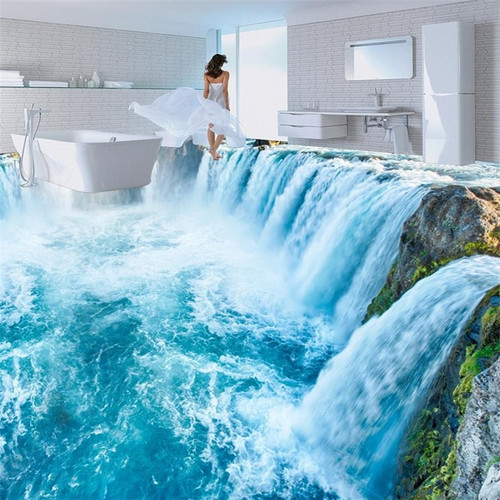 Floor wallpaper 3d for bathrooms 3D waterfall kitchen living room floor mural PVC waterproof floor