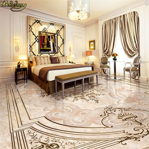 Custom Photo Wallpaper Floor painted High-end European style jade relief 3D flooring