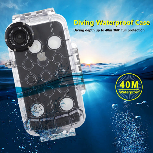 PULUZ For iPhone XS Max / XR Underwater Housing 40m/130ft Diving Phone Protective Case Surfing Swimming Snorkeling Photo Video