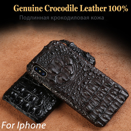 Genuine Real Crocodile Leather Phone Case for iPhone XS Max 3D Alligator Skin Back Cover For iPhone XR Case iPhone XS iPhone X
