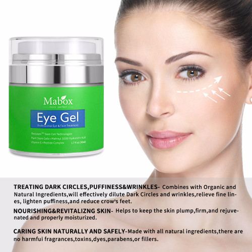 Mabox Natural Eye Gel for Appearance of Dark Circles, Puffiness, Wrinkles and Bags-for Under and Around Eyes Eye gel essence gel