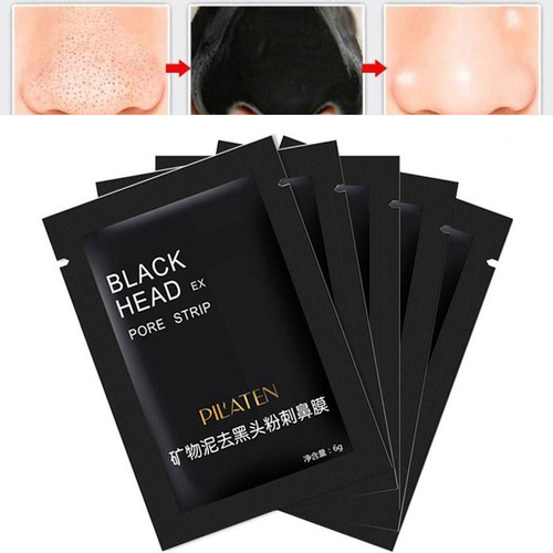 5 pcs/lot Pilaten Facial Black Mask Face Care Nose Acne Blackhead Remover Minerals Pore Cleanser Mask Black Head Strip maquiagem