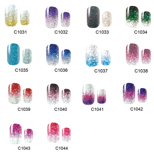 NEW 14 Tips NAIL Art Full Cover Self Adhesive Stickers Polish Foils Tips Wrap Glitter Gradient Shiny Nail Decal Manicure