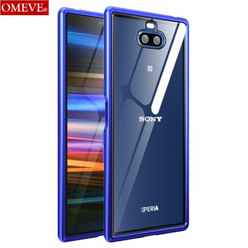 OMEVE for Sony Xperia 10 Case Xperia10 Plus Alloy Metal Frame Bumper Transparent Tempered Glass Back Cover for Xperia 10 Funda