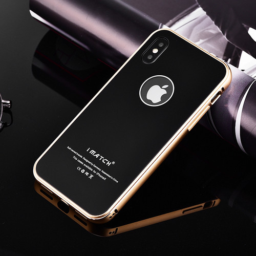 Original iMatch Case For iPhone X Coque Luxury Aluminum Metal Bumper + 9H Hardness Tempered Glass Back Cover For iPhone X Case