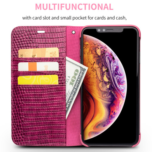 QIALINO Genuine Leather Phone Case for iPhone X/XS/XR Fashion Luxury Handmade Women Bag Card Slot Flip Cover for iPhone XS Max