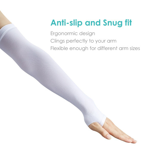 SKL Long Sun Cooling Arm Sleeves UV Protection UPF 50+ For Women Men Outdoor Sport Protective Compression Arm Cover Anti-Slip